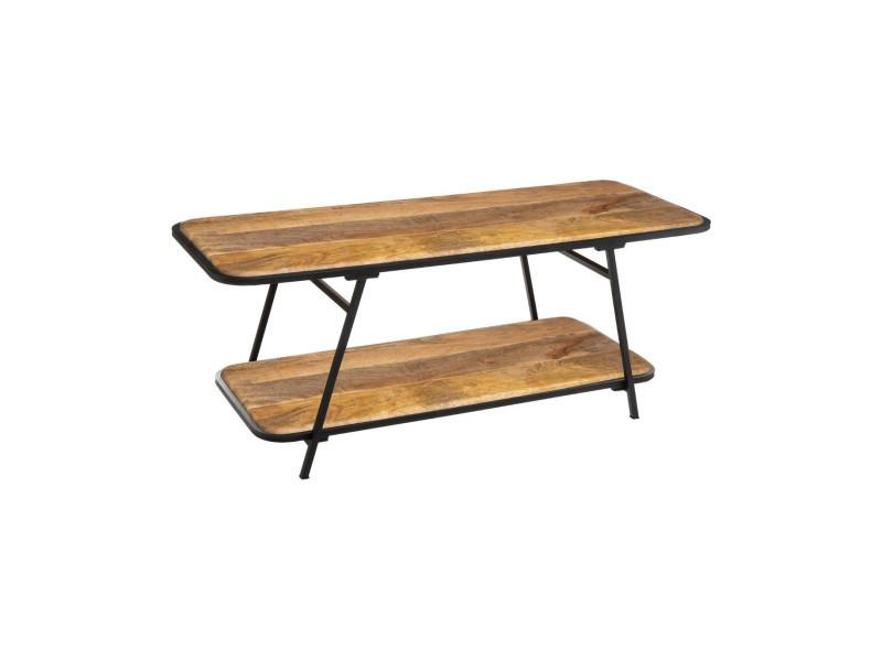 Atmosphera - table basse double plateaux en bois de manguier et pied en acier kalida