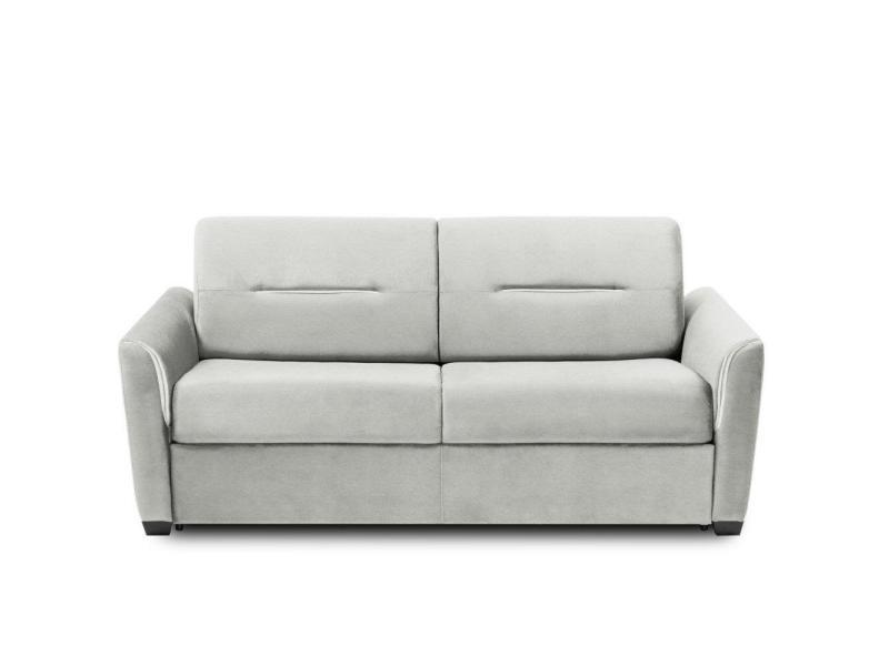 Canapé convertible rapido amazone matelas 120cm comfort bultex® 14cm cuir vachette blanc cassé 20100879659