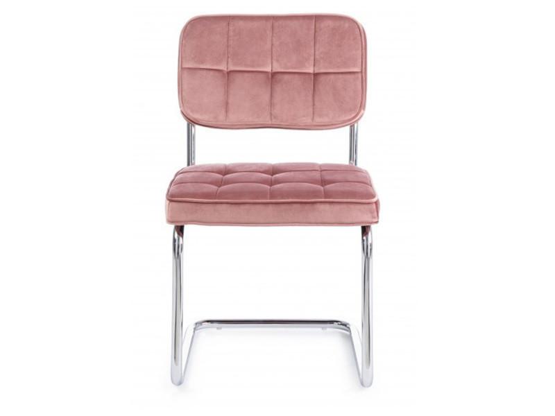 dim de chaises en coloris 2 chromé rose velours Lot acier zpGqLMUSV