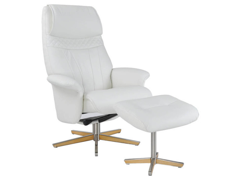 Fauteuil relax + pouf valy cuir blanc