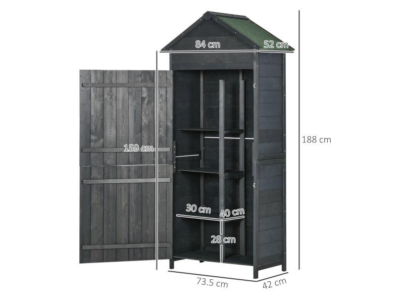 Armoire abri de jardin remise pour outils 3 étagères 2 porte loquets ...