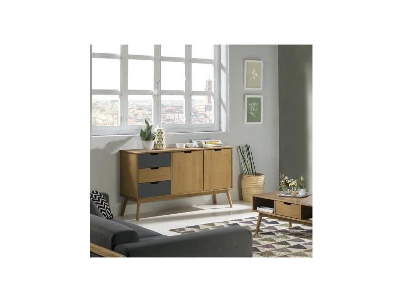 Delhi buffet bas 2 portes 3 tiroirs - décor chene et gris - l 140 x p 40 x h 80 cm