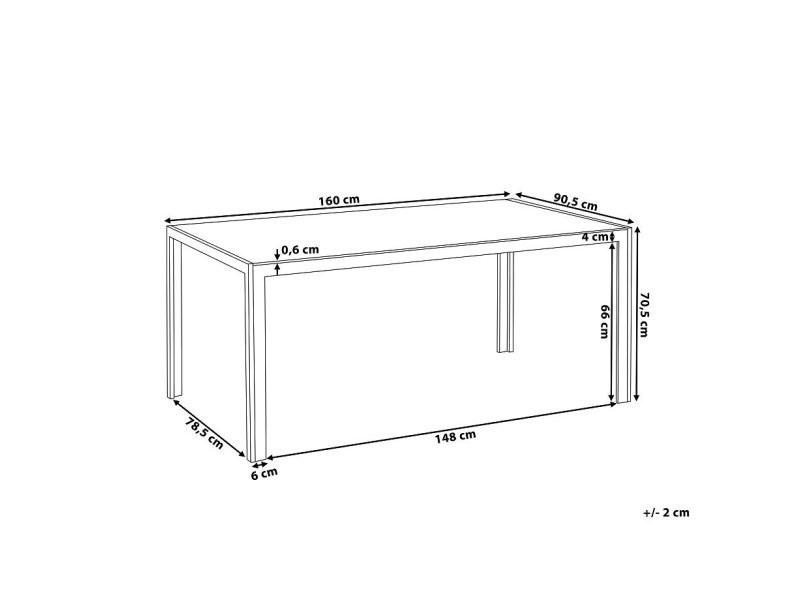 Table de jardin aluminium - plateau en verre blanc 160 cm ...