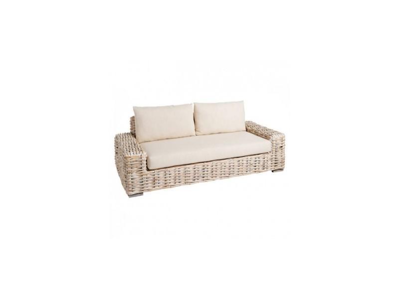 Canapé 2 places d'extérieur rotin tissu blanc 185cm kilt