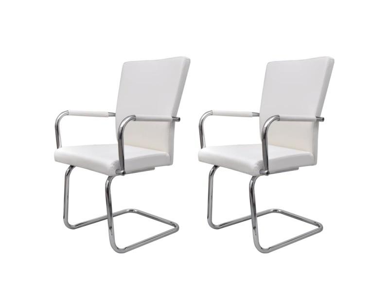 blanc de pcs 2 chaise Vidaxl à manger cuir salle synthétique D92HIE