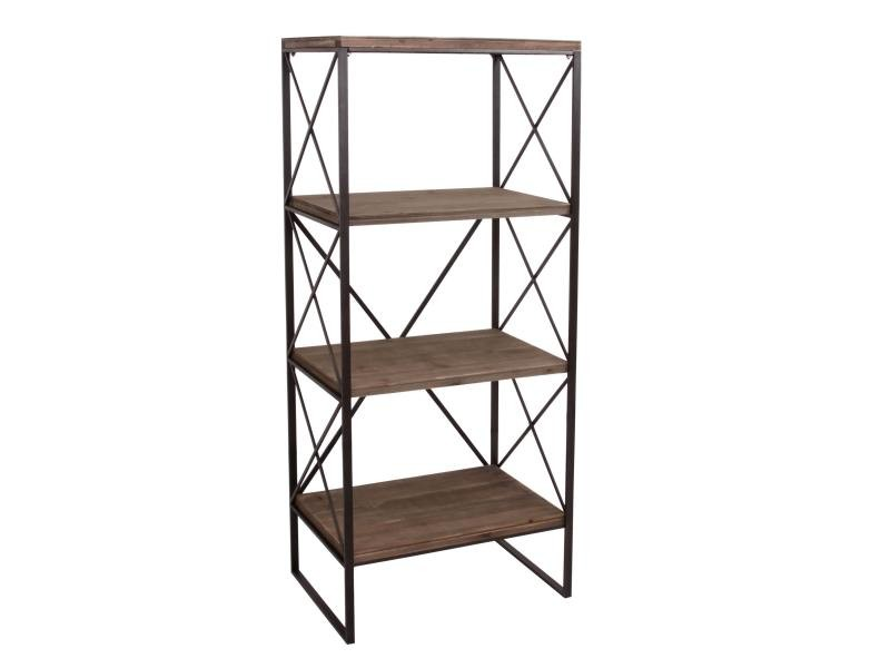 Étagère de rangement hwc-c10, bibliothèque, bois véritable métal ~ 4 tablettes, 142x60cm - Vente ...