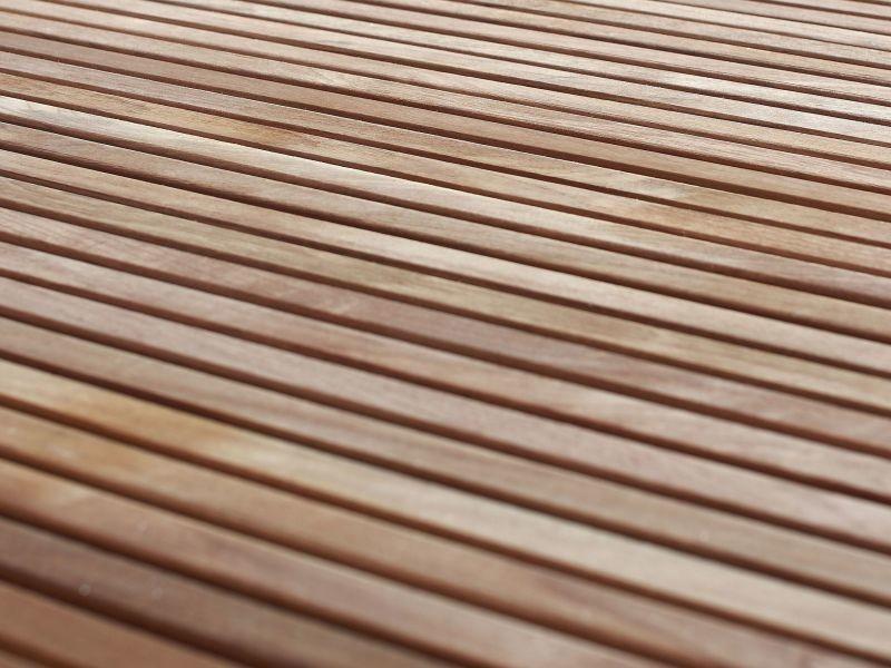 Table de jardin en acier inox et plateau teck 200 cm ...