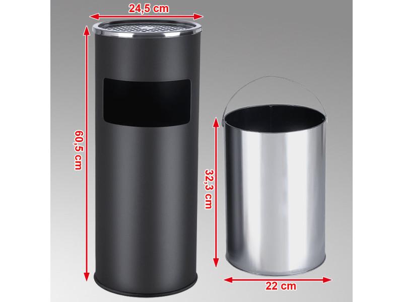 Poubelle Cendrier Stainless Inox 30 L Noire Vente De