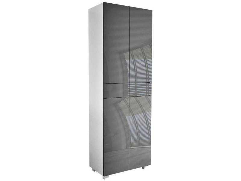 Meuble blanc mat portes gris laquées 170 x 60 x 30