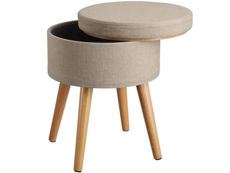 Tabouret siège pouf avec coffre de rangement table basse beige helloshop26 08_0000312