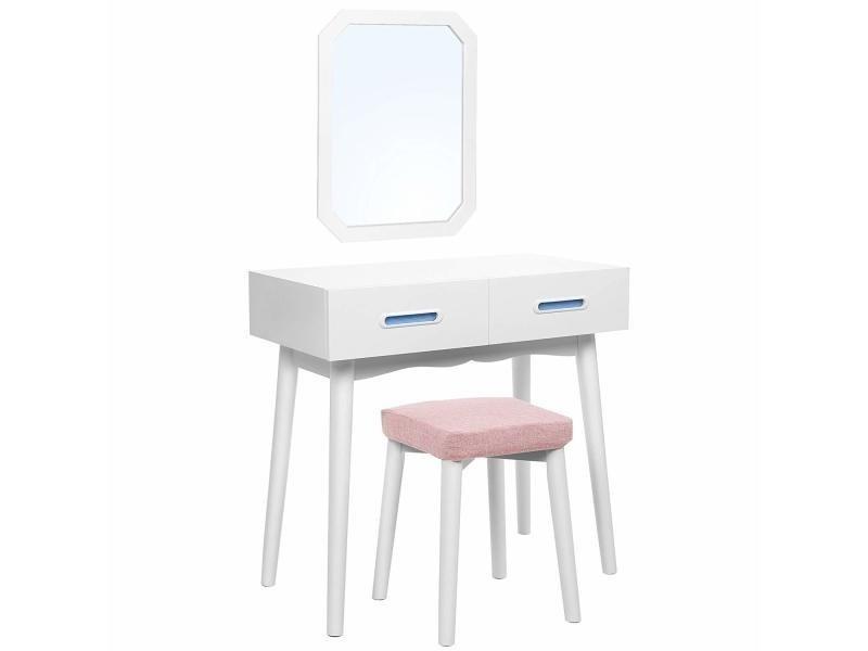 Coiffeuse Moderne Miroir Amovible Mural 2 En 1 Combinaison De Table De  Maquillage Et Bureau Meuble