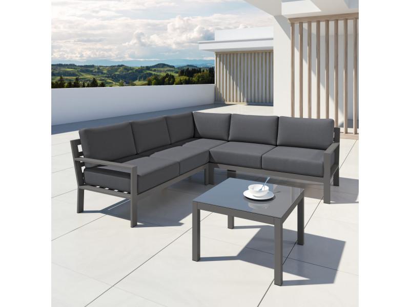 Canapé fixe 3 places DIAGONAL coloris blanc/noir - CONFORAMA