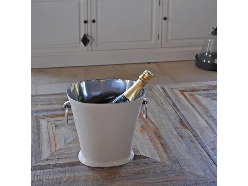 Seau à champagne blanc et argent 26x21x24 cm