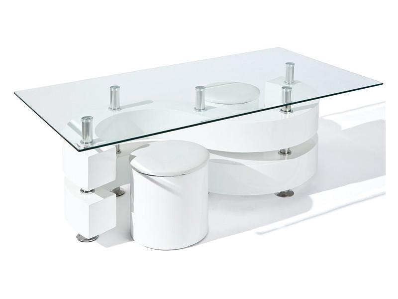 Table basse saphira avec 2 poufs blanc, dim : 130 x 70 x 46 cm -pegane-