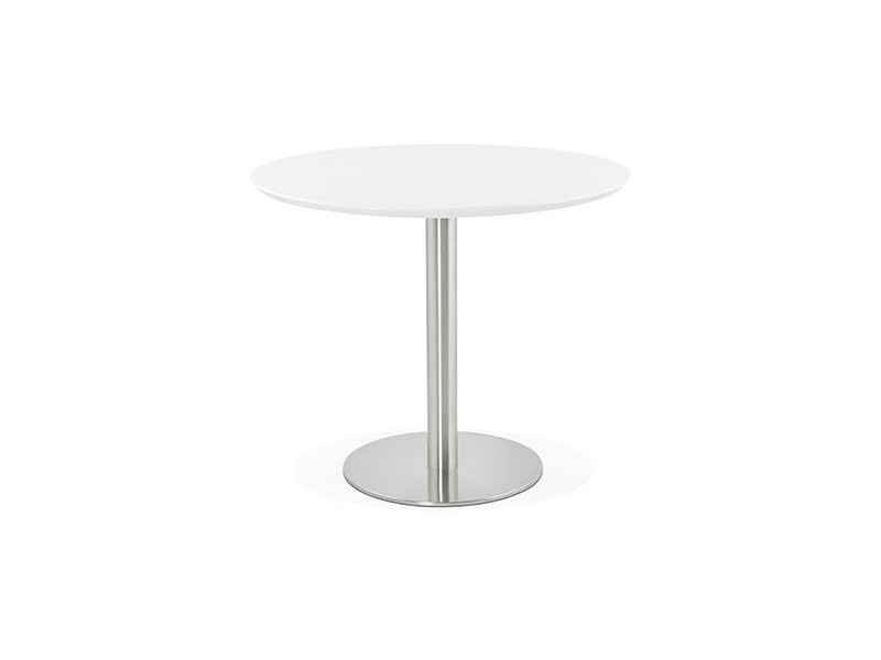 Table à manger ronde 90 cm plateau blanc et pied en acier - bahia