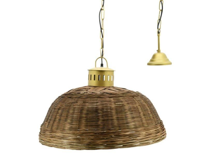 Suspension en bambou teinté et métal doré diamètre 60 cm