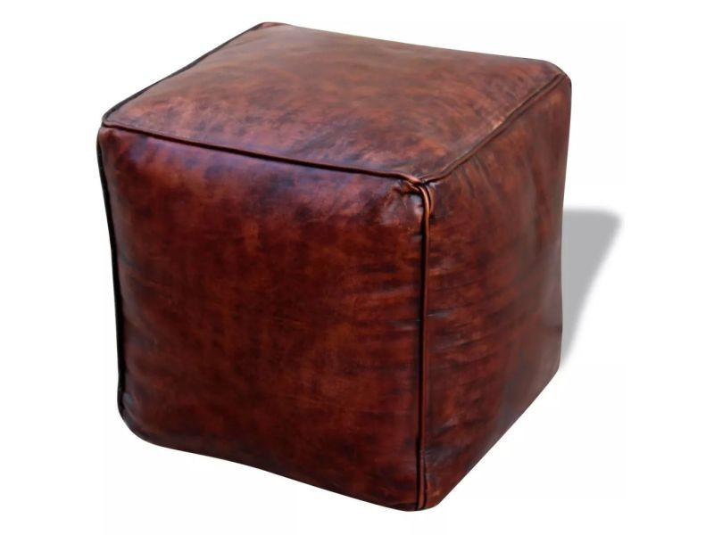 Sublime meubles serie pékin pouf cuir véritable carré marron 45 x 45 x 45 cm