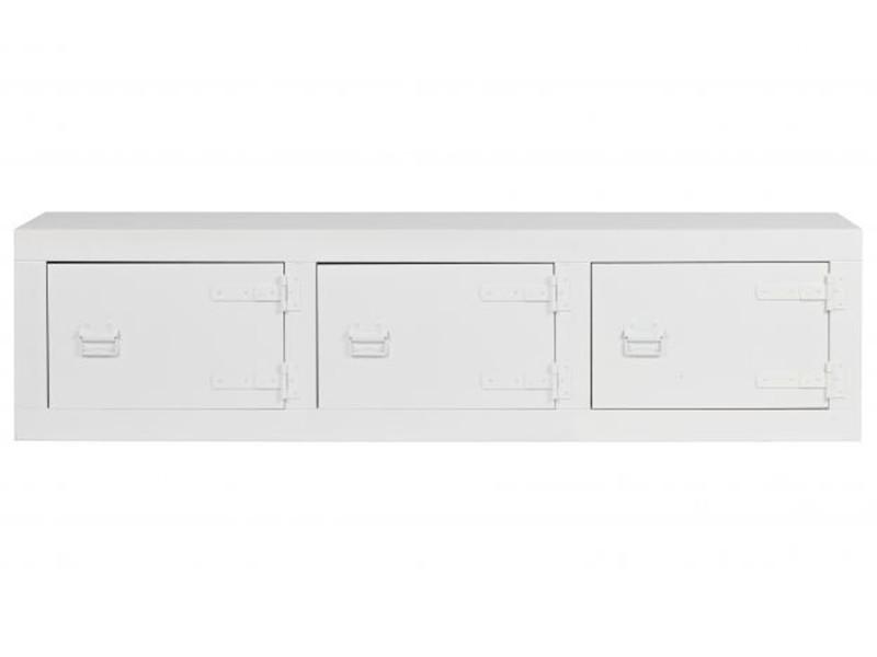 Meuble buffet coloris blanc en métal - dim: 45 x 177 x 41 cm -pegane-