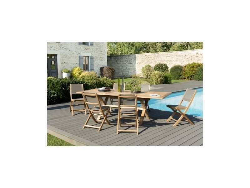 Salon de jardin en teck et textilene table rectangle pied croisés ...