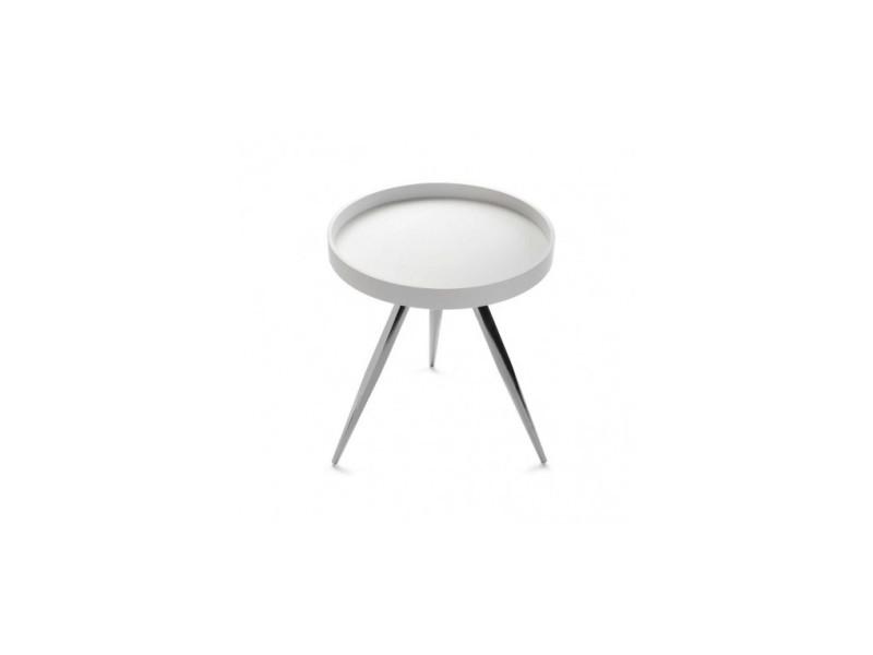 Table d'appoint blanc laqué lindau