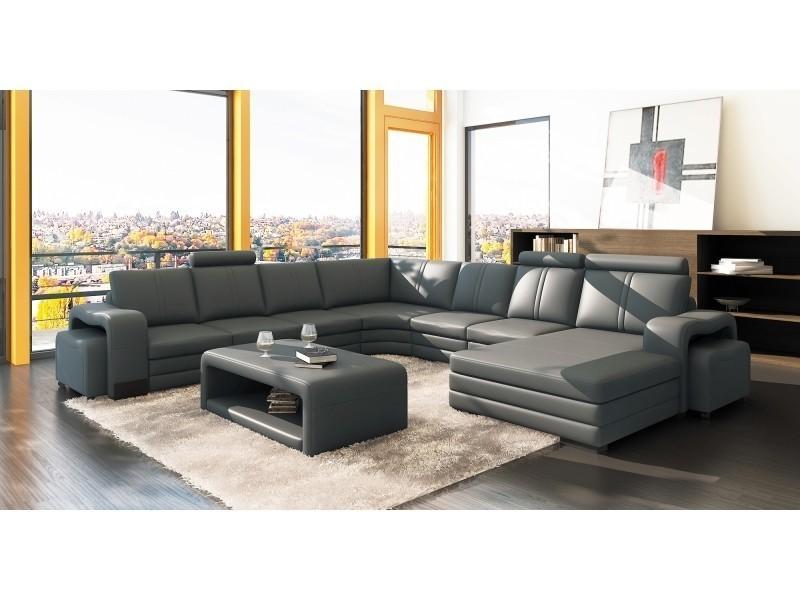 Canapé d'angle panoramique cuir gris 10 places havane-