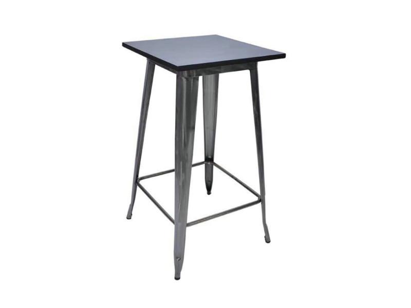 Table style industriel hombuy - pieds de table en métal noir + bois naturel noir