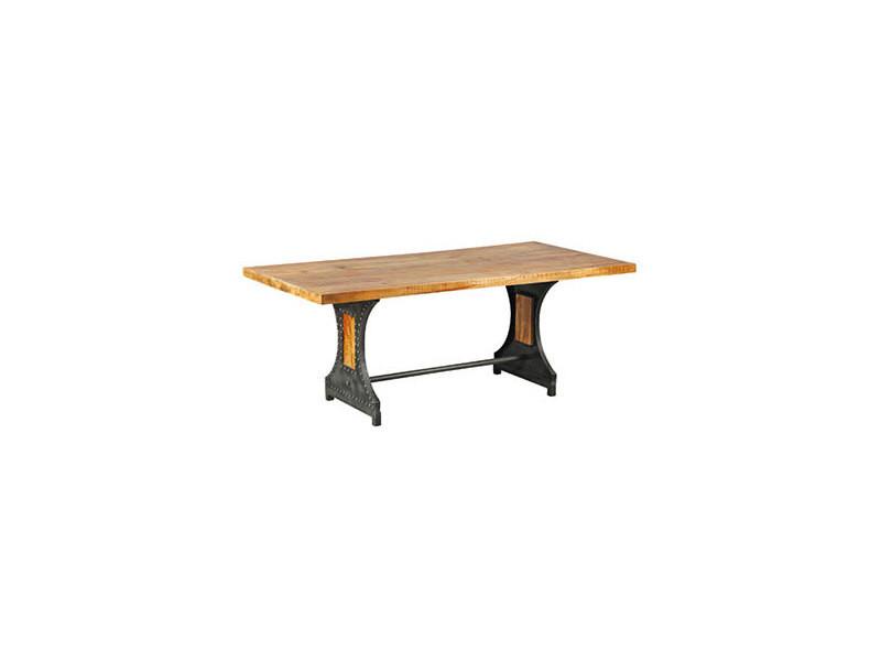 Table à manger 200 cm en bois naturel et métal - atelier metal