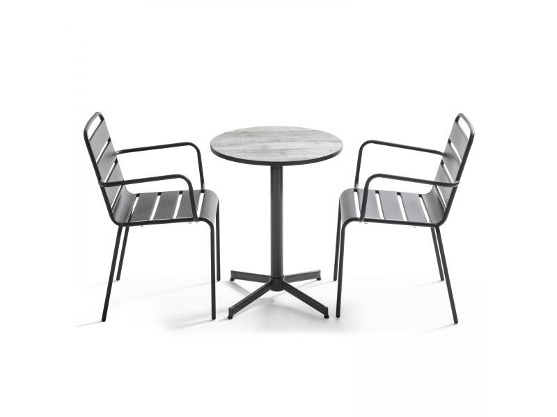 Table bistro ronde plateau céramique effet bois et deux fauteuils palavas 2 places acier marron