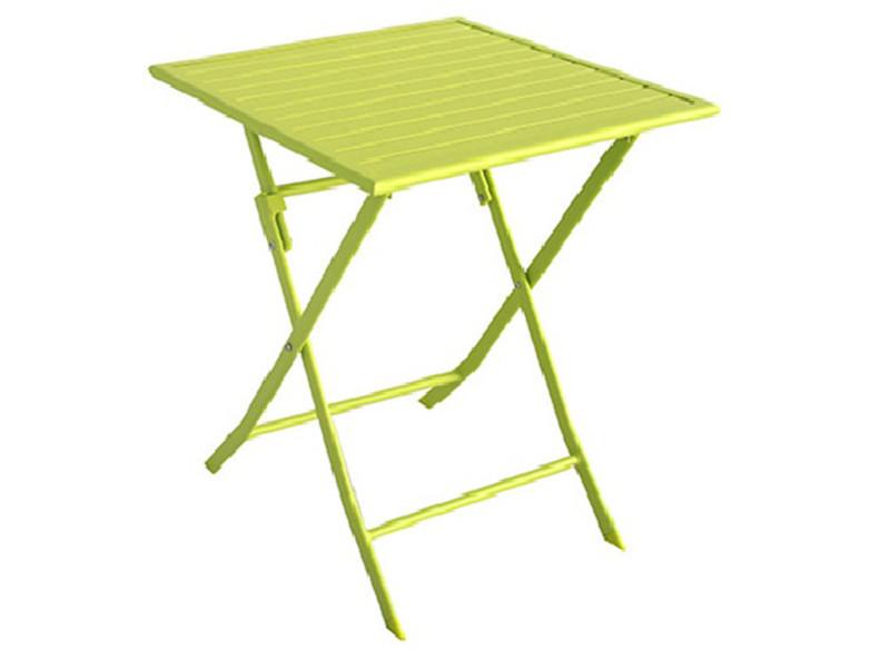 Table de jardin en aluminium carré coloris vert anis mat - dim : 70 ...