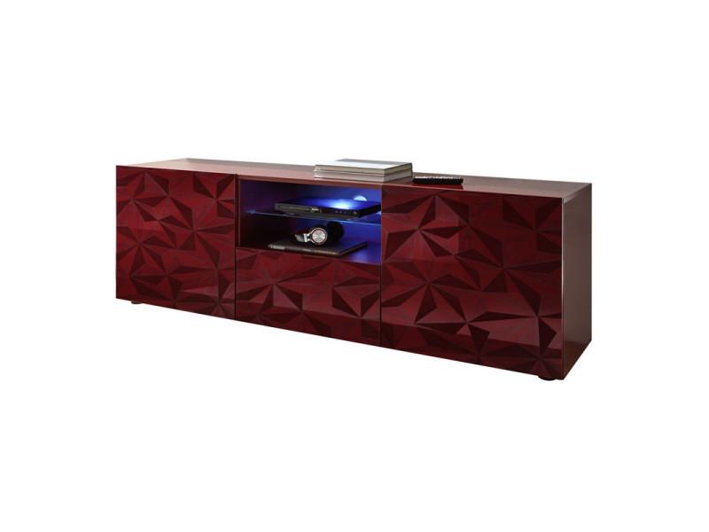 Meuble tv 2 portes 1 tiroir laqué rouge brillant à leds - kioo - l 181 x l 42 x h 57 - neuf