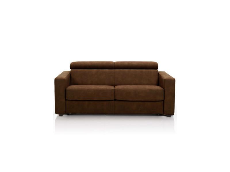 Canapé convertible 3 places, tissu déhoussable - chocolat