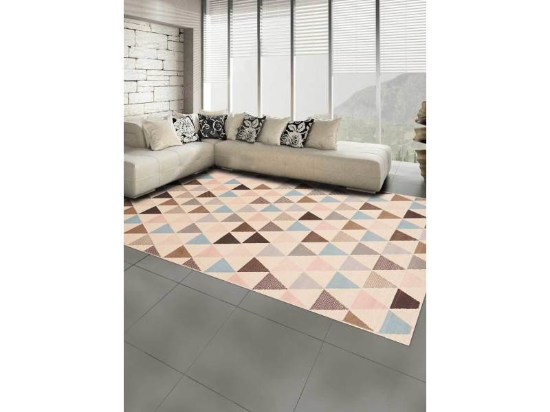Tapis moderne pour salon af multitri marron, bleu, rose ...