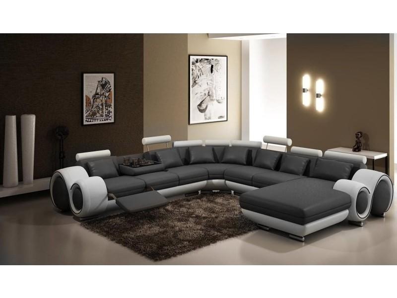 Canapé panoramique cuir gris et blanc oslo (angle droite)-