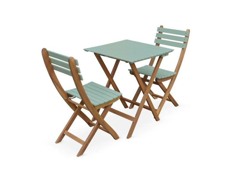Table de jardin bistrot 60x60cm - barcelona bois / vert de ...