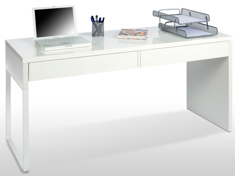 Bureau réversible en bois coloris blanc brillant avec tiroirs