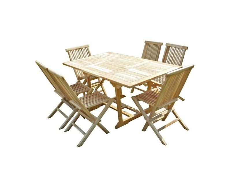 Ensemble table de jardin rectangulaire en teck extensible ...