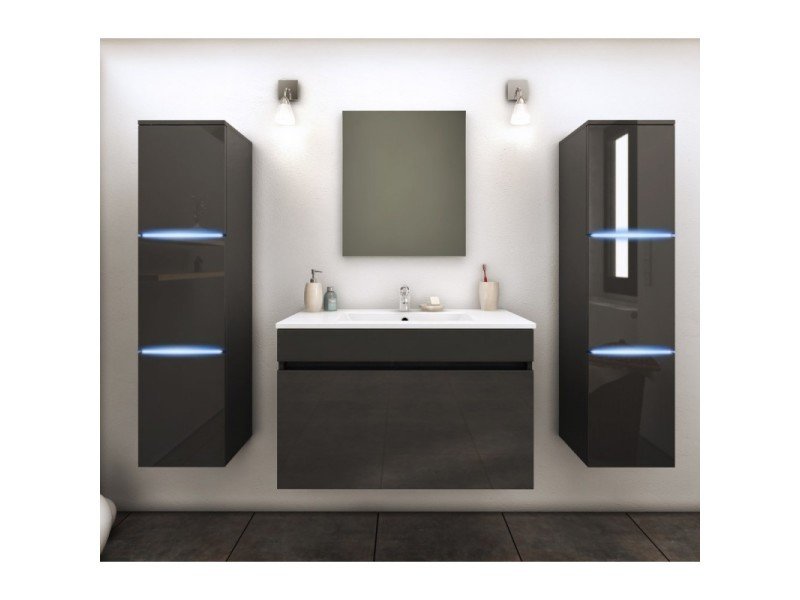 vasque avec colonne Meuble de salle de bain simple vasque 80 cm + 2 colonnes avec led gris  lazia - l 80 x l 46 x h 50