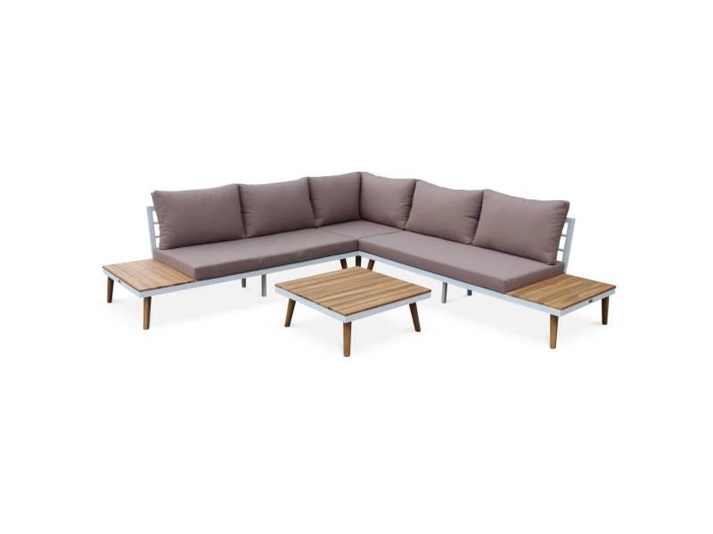 Salon de jardin en bois 5 places - buenos aires - canapé d\'angle ...