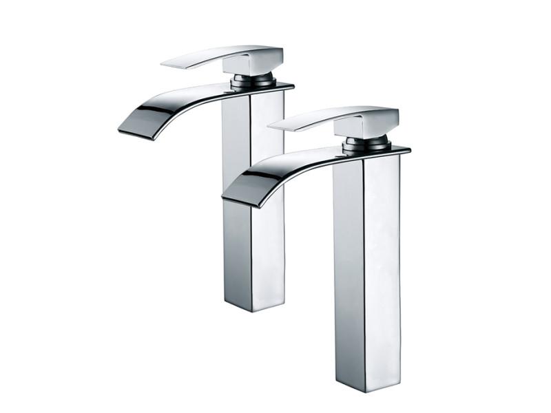 2x robinets salle de bain haut bec cascade mitigeur de ...