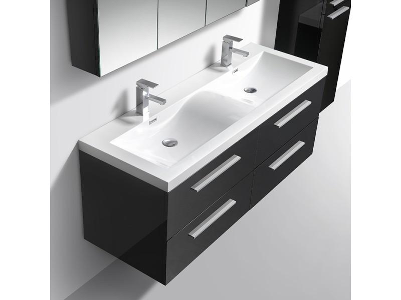 Meuble salle de bain design double vasque siena largeur 144 ...