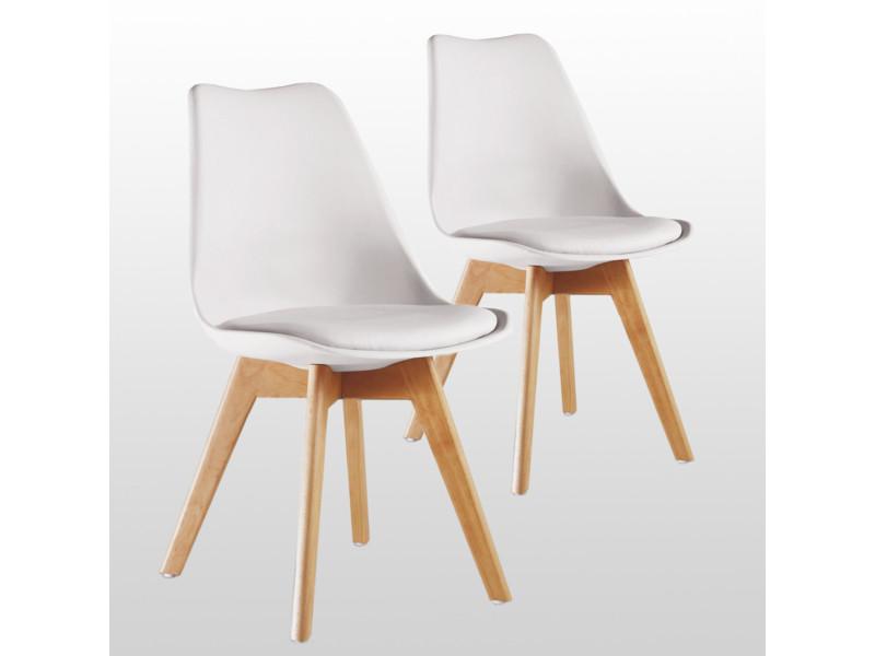Lot de 2 chaises scandinaves blanches lorenzo - assise rembourrée