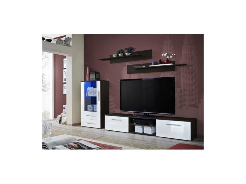 galino wengé et Meuble tv h blanc designcoloris brillant wOkP8nX0N