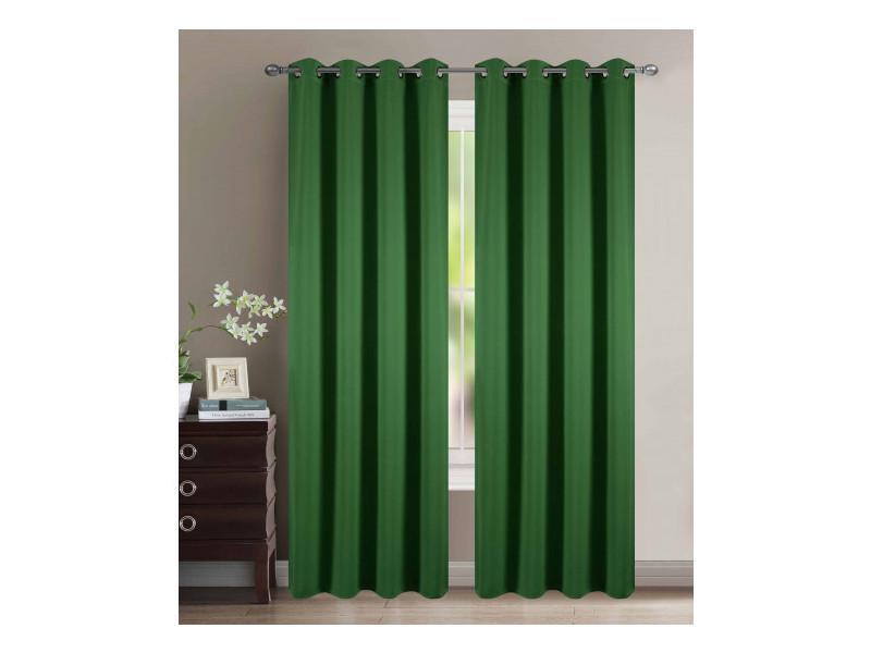 Lot de 2 rideaux occultant vert jade 140 x 260 cm