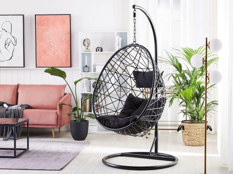 Fauteuil suspendu avec support en rotin noir ø 94 cm alatri 248385