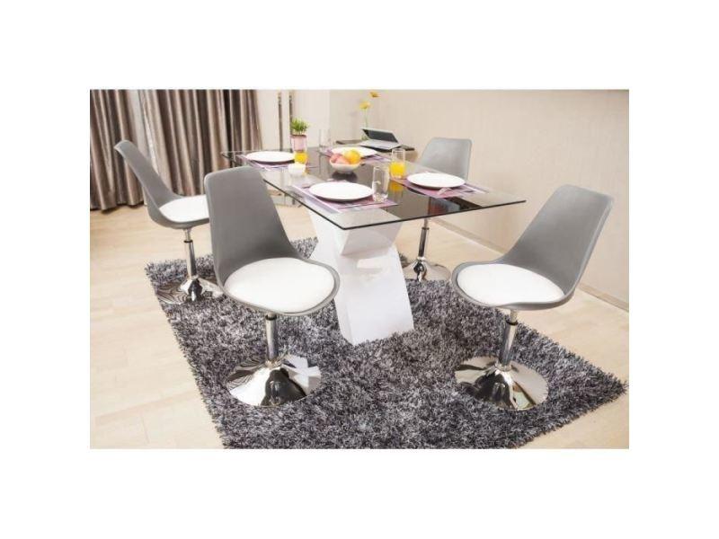 Chaises Poppy De A Rotatives Chaise Blanc Manger Et Lot 4 Gris Salle 5ARL4j