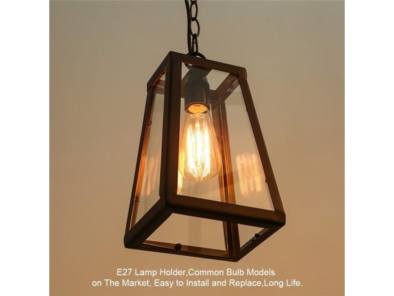 Lampe Suspendue Luminaire Salon Retro Suspension Boite En Verre
