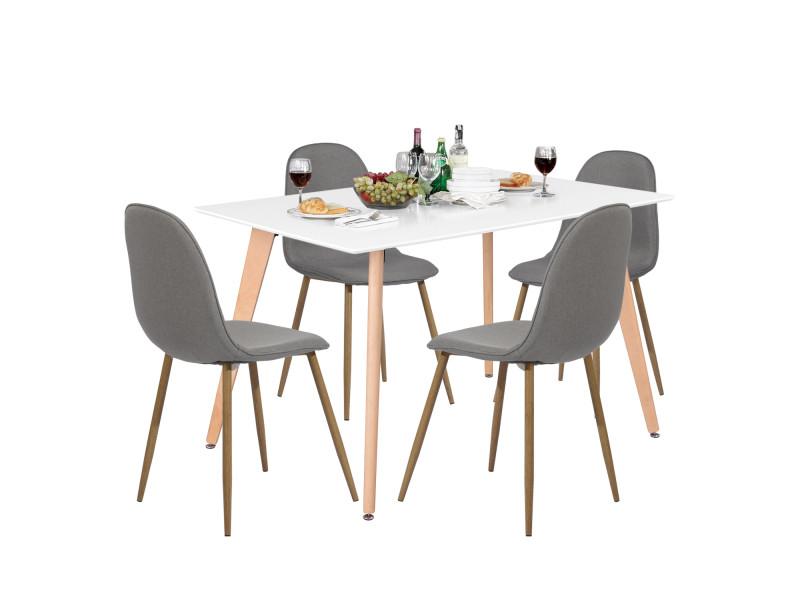 Ensemble table blanche et chaises 4 places grises scandinave