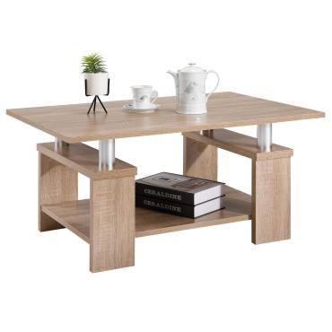 Table basse de salon percy rectangulaire avec tablette mélaminé décor chêne sonoma