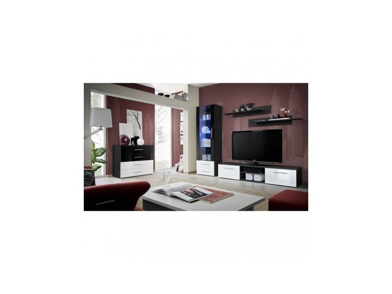 Meuble Tv Galino B Design Coloris Noir Et Blanc Brillant