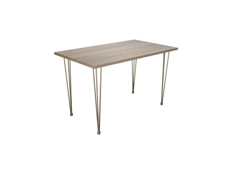 Voltaire table avec plateau imitation bois et pieds métal